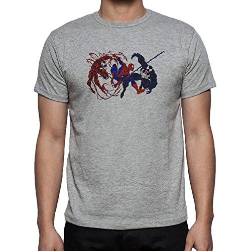Spiderman Peter Parker Super Heroe Venom Fight Herren T-Shirt Grau