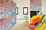 Walplus Entfernbarer selbstklebend Wandkunst Aufkleber Vinyl Wohndeko DIY Wohnzimmer Schlafzimmer Küche Dekor Tapete Marokkanische rot & blau Mosaik Fliesen Wand Sticker 48 stk. 15cm x 15cm
