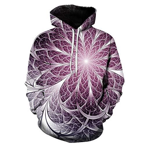 serliyUnisex 3D Hoodie Herren Damen Kapuzenpullover Langarm Drawstring Pullover Sweatshirt mit Tasche -
