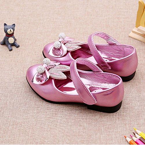 Amur Leopard Ballerine Fille chaussure princesse à talons diamant avec lapin oreilles Rouge clair