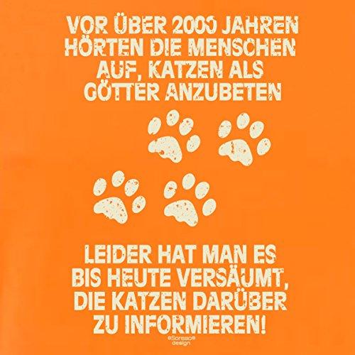 Herren Katzen-T-Shirt für Tier-Freunde als tolle Geschenk-Idee bis Größe 5XL / Print-Katzenmotiv: Katzen als Götter Farbe: orange Orange