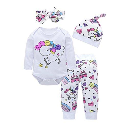 Jimmkey 4pcs Baby Girls Boys Clothes Set Cartoon Romper+Pants+Hat+Headband Outfits Newborn Baby Boys Pants Sets Stripe Set Overall Outfits Pyjamas Romper Jumpsuit