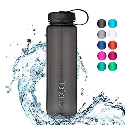 720°DGREE Trinkflasche simplBottle - 0,5l, 500ml, Schwarz - Wasserflasche aus Tritan - Auslaufsichere Flasche mit Weithals für Kinder, Sport, Gym, Outdoor - Perfekte Sportflasche - BPA Frei