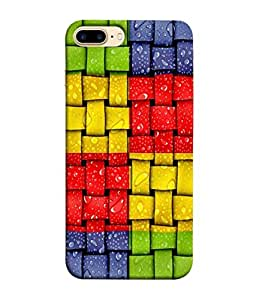 PrintVisa Designer Back Case Cover for Apple iPhone 7 Plus (Green Red Yellow Blue Box Checks Squares Design)