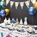 Himeland Einhorn Party Zubehör Set mit Banner, Teller, Becher, Servietten,Besteck Sets und Tischdecke mit Einhorn Stirnband und Geburtstag Mädchen Schärpe