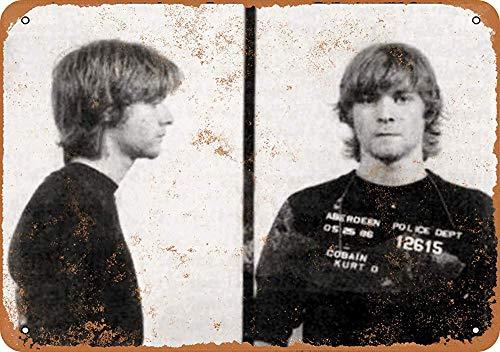 mengliangpu8190 Tin Sign 7 x 10 Metal Sign 1986 Kurt Cobain Mug Shot Vintage Look Wall Sign Decorative Sign Retro Sign Aluminum Sign