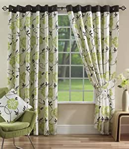Lime green chocolate curtains eyelet lucille 66 39 39 x 72 39 39 kitchen home for Lime green curtains for bedroom