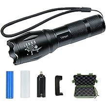 Linterna LED con Batería 18650 y Cargador, Vonpri Linterna Táctica CREE T6 LED Flashlight con 5 Modos Resistente al Agua