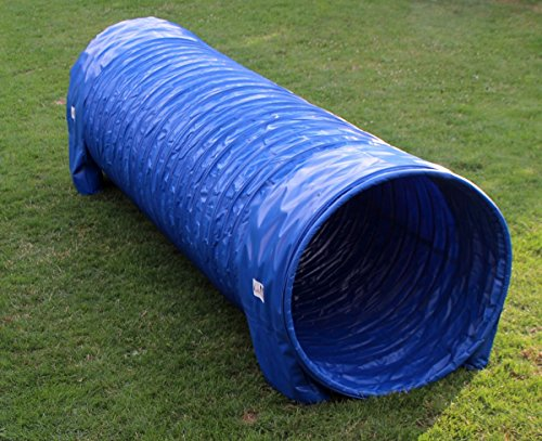 Callieway® Dog Agility Tunnel Profi Hunde Tunnel 3m lang / 80cmØ Agility Gerät (3m / 80cm, blau)