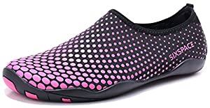 Sixspace Badeschuhe Wasserschuhe Strandschuhe Wasserdicht Schnell Trocknend Slip On Breathable Aquaschuhe Schwimmschuhe Surfschuhe für Herren Damen,Rose Rot 41 EU