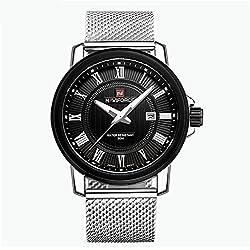 Calendar waterproof stainless steel mesh band men's watch quartz watch
