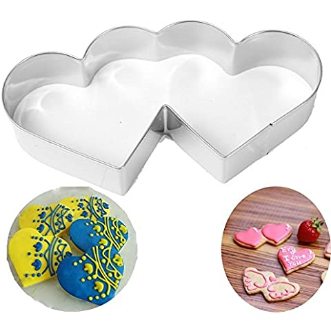 Aliciashouse In acciaio inox doppio cuore Cookie Cutter Cake pasticceria