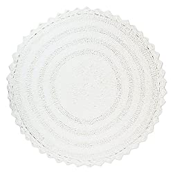 "DII Ultra Soft Spa Cotton Crochet Round Bath Mat or Rug Place in Front of Shower, Vanity, Bath Tub, Sink, and Toilet, 28"" - White"