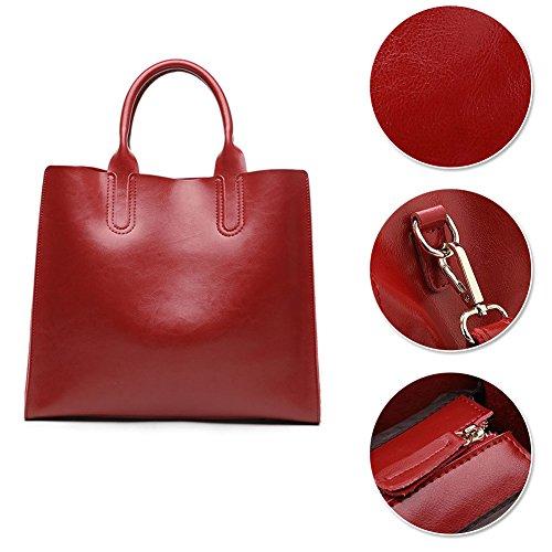 Yoome Womens Top Handle Satchel Handbags Designer Borsa a tracolla della borsa del totalizzatore Cartella in vera pelle - rossa Rosso