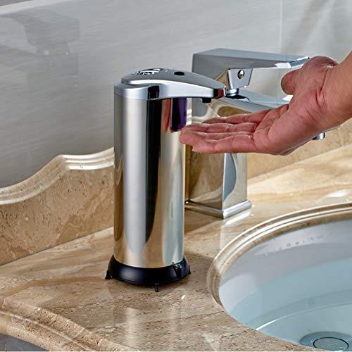 FOCCTS Automatischer Seifenspender Edelstahl Seifen Spender Infrarot-Seifen Dispenser mit Wasserdichter Basis