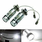Ansenesna 2 x 100W (H3, H4) LED 20 SMD Auto Nebel Licht,Signal Licht,Turning Lights, Bremse leuchtet, Parking Lights, Rückleuchten, DRL,12V - 24V 360 Grad Weißes Licht (H3)