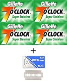 20 Cuchillas de afeitar Gillette 7'o Clock Super Stainless + 1 cuchillas de afeitar KAI Stainless Steel gratuita