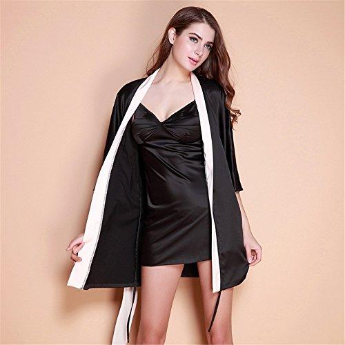 Smx Sexy Set Schlafanzüge / aus Satin /Pyjama Kleid/Spitze Nachtwäsche/Verstellbar Träger Negligee /Seide SchlafanzugPajamas female silk dressing gown bathrobe, black ,S (Gown Dressing Silk)