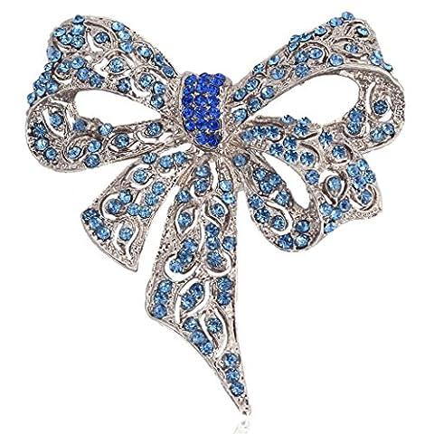 Ever Faith - Ton d'Argent Ruban Nœud Papillon Broche Bleu