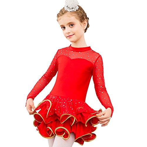 YI WORLD Kind Lateinischer Tanz Kleidung Mädchen Spitze lange kurz Hülse tanzen Kleid schwarz rot Gelb Rosa , red , (Tanz 2 Stück Zeitgenössischer Kostüm)
