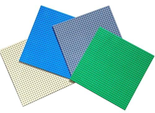 Papimax 4er Set Große Grundplatte 25.5cm x 25.5cm / 32 x 32 noppen pins Classic gound-bauplatte lego baseplate grau Grün blau Neu 6+