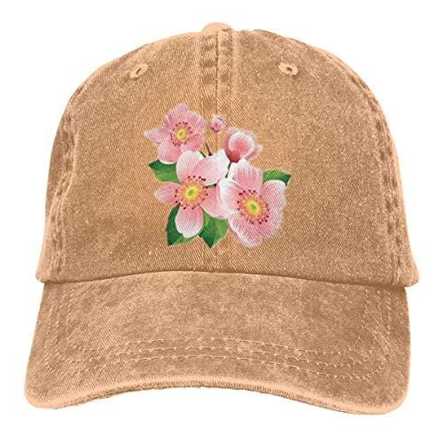 Kling Unisex Erwachsene Vintage Washed Baseball Cap Verstellbarer Vater Hut - rosa Blume schwarz -
