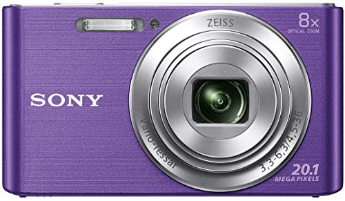 Sony CyberShot DSC W830 20.1 MP Point and Shoot Camera (Violet) with 8x Optical Zoom, Memory Card and Camera Case