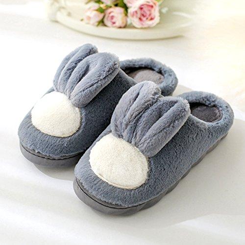 DogHaccd pantofole,Pantofole di cotone di spessore, pavimento antiscivolo indoor autunno inverno silenzioso home soggiorno nella bella donna pantofole scarpe caldo Grigio scuro3