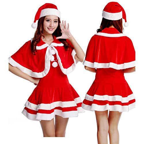 GSDZN - Womens Red Miss Santa Weihnachtskostüm Fancy Minikleid Damen Outfit Mit Schal Weihnachten