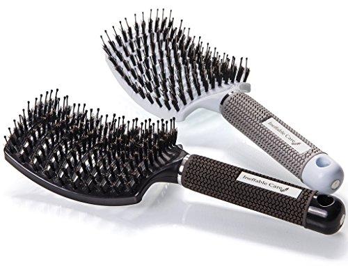 Spazzola per capelli curva con setole di cinghiale (set di 2) – spazzola vent ergonomica da donna, adatta styling a capelli lunghi, fini, ricci o lisci, crespi, mossi - best hair brush