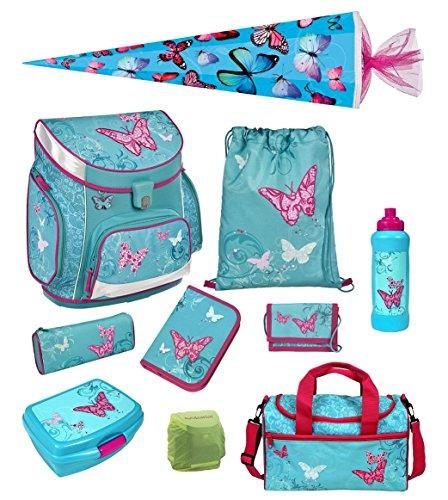Scooli Butterfly Schulranzen Set 10tlg. Campus Up mit Dose/Flasche Sporttasche und Schultüte 85cm BUKR8252