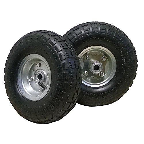 2 roues de remplacement pour brouette, diable ou chariot à main avec pneu noir 10 pouces (260x85mm)