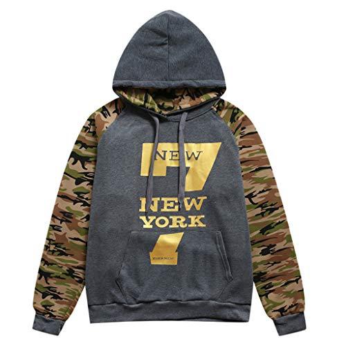 SIRIGOGO Camouflage Stitching Hoodie für Herren, Herren Langarm Kapuzen Einfarbig Print Herbst Sweatshirt Rollkragenpullover, M ~ 3XL -