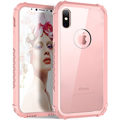 Custodia iPhone X,iPhone X Case,Casetego Shock-absorbing Flexible Durability TPU and hard PC Frame Bumper Case,Transparent Back Hard PC Defensive Protection Cover for Apple iPhone X/iPhone 10-Black+Re Rose Gold