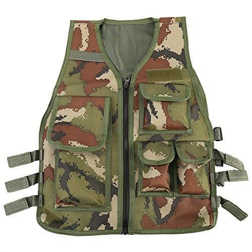 Alomejor Armor Schutzweste, Nylon, CS-Sportschuhe mit mehreren Taschen Molle für Kinder, Army Green Camouflage
