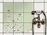 creatisto Bad-Fliesen Fliesen | Design-Dekorsticker Küchenfolie Badgestaltung | 20x20 cm Design Motiv White Blossoms - 9 Stück
