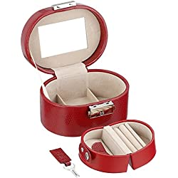Wolf Designs 281404 Heritage Red Travel Mini Oval Jewelry-Box