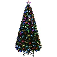 WeRChristmas Pre-Lit Fibre Optic Christmas Tree with Tree Topper and Flower Lights, Green, 6 feet/1.8 m