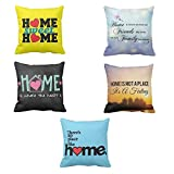 TYYC New Year Gifts for Home, Printed Friends Family Love Home Cushion Covers 20x20 inches Set of 5, Home decorative items for bedroom, living room