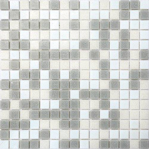 32.7cm x 32.7cm Grey & White Vitreous Glass Mosaic Tiles Sheet (MT0086)