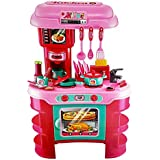 Hi-Widze 35 PCS Bigger Size Kitchen Set Toy With Lights And Music, With Playing Accessories, Pink