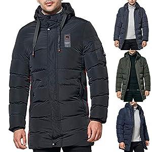 Amphia – Warme Jacke für Herren aus Baumwolle,Herrenmode mittlerer Länge Hoodie Pocket Zipper verdickte Baumwolle Jacke Mantel