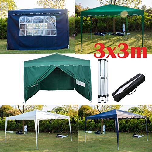 Yiyai 3x3m Faltpavillon mit 4 Seitenteilen, Wasserdicht + UV-Schutz 50+ Festival Sonnenschutz Festzelt Tragetasche inklusive für Garten/Party/Hochzeit/Picknick/Markt - Grün