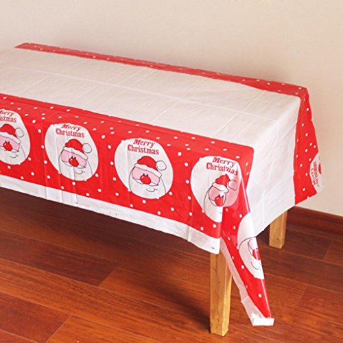 Prevently Brand New Happy New Fashion Decorative 110*180cm Tablecloth Disposable Merry Christmas Santa Claus Printed PVC Cartoon Tablewaer Fancy (D)