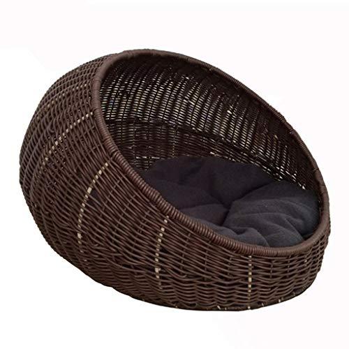 Pet Bed Woven Cat Bed Basket Mit Kissen Vier Jahreszeiten Verfügbar (Farbe : Kaffee) -