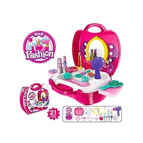 Buyger 21Pcs Pretend Play Hair Dryer Makeup Toy Set Beauty
