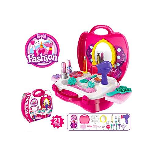 Buyger 21 Stücke Kunststoff Kinder schminkset Schminksachen Schönheit Prinzessin Mädchen koffer Rollenspiel Spielzeug Pretend Makeup (Up Mädchen Make Für Kit)