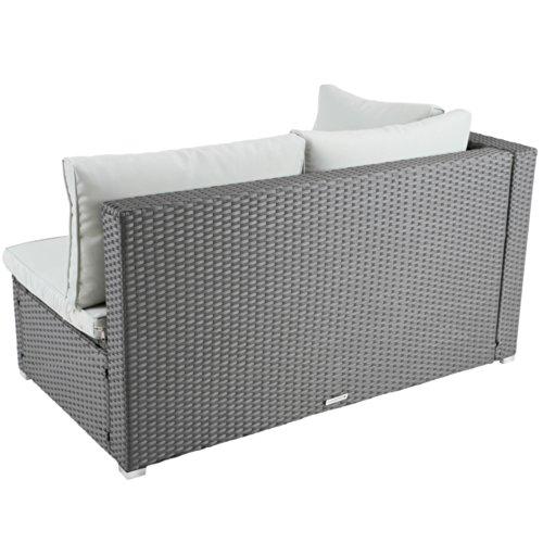Ecksofa für bis zu 2 Personen aus Polyrattan Gartenmöbel inkl. Sitzkissen -Farbwahl- schwarz, grau oder braun - 5