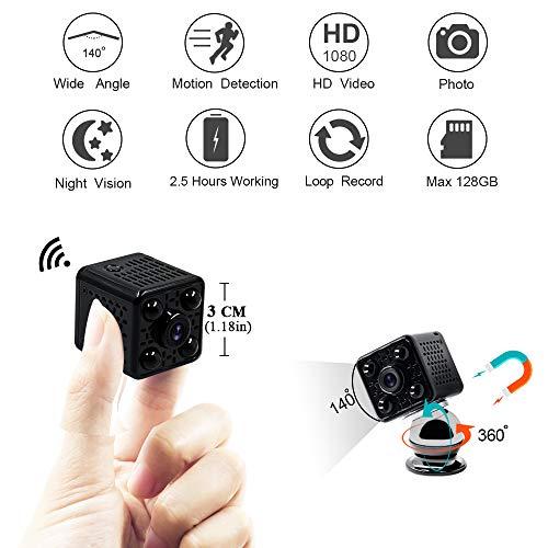Mini Camera Spia LXMIMI Telecamera Nascosta Telecamera 1080P Wifi Telecamera Spia Videocamera 140 ° Grandangolare Nascosta Microcamera con Visione Notturna e Rilevamento del Movimento