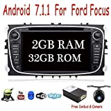Android 7.1 Quad Core 2G+32G 17.8cm Doble Din Estéreo GPS para navegación de navegación para el Ford Focus Mondeo Soporte Mirror Link Bluetooth Wifi 4G OBD DAB SD RDS gratis CANBUS&Cámara Color Negro